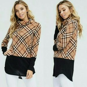 Sweaters - TAYLOR Plaid knit pullover - TAUPE / BLACK